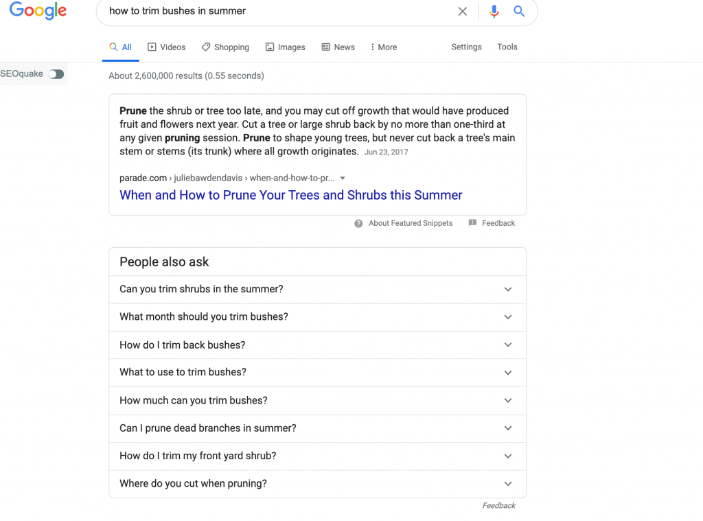 Google Suggest for Landscaping Questions